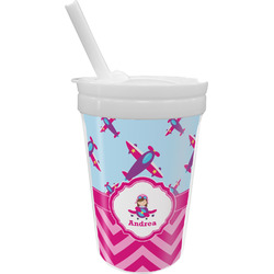Airplane Theme - for Girls Sippy Cup with Straw (Personalized)