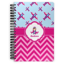 Airplane Theme - for Girls Spiral Bound Notebook (Personalized)