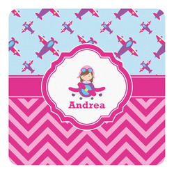Airplane Theme - for Girls Square Decal (Personalized)