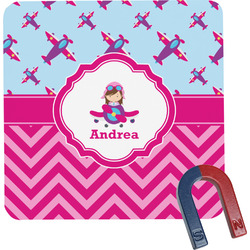 Airplane Theme - for Girls Square Fridge Magnet (Personalized)