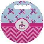 Airplane Theme - for Girls Stadium Cushion (Round) (Personalized)
