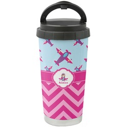 Airplane Theme - for Girls Stainless Steel Travel Mug (Personalized)