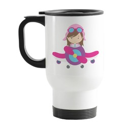 Airplane Theme - for Girls Stainless Steel Travel Mug with Handle
