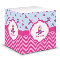 Airplane Theme - for Girls Sticky Note Cube (Personalized)