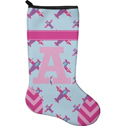 Airplane Theme - for Girls Holiday Stocking - Neoprene (Personalized)