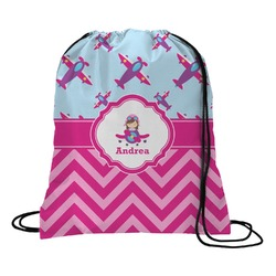 Airplane Theme - for Girls Drawstring Backpack (Personalized)