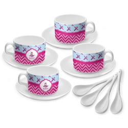Airplane Theme - for Girls Tea Cup - Set of 4 (Personalized)