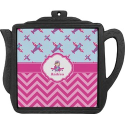Airplane Theme - for Girls Teapot Trivet (Personalized)
