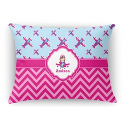 Airplane Theme - for Girls Rectangular Throw Pillow Case (Personalized)