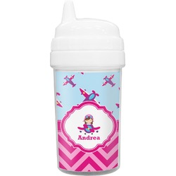 Airplane Theme - for Girls Toddler Sippy Cup (Personalized)