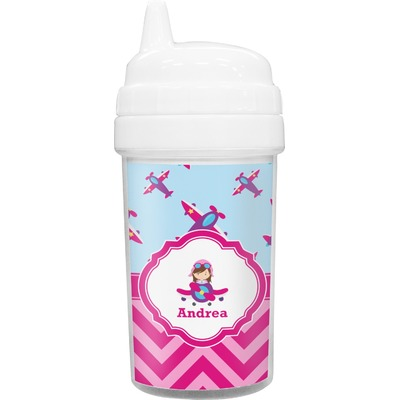 Airplane Theme - for Girls Sippy Cup (Personalized)
