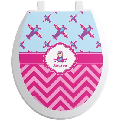 Airplane Theme - for Girls Toilet Seat Decal (Personalized)
