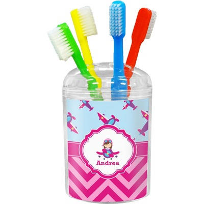 Airplane Theme - for Girls Toothbrush Holder (Personalized)