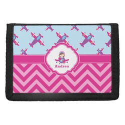 Airplane Theme - for Girls Trifold Wallet (Personalized)