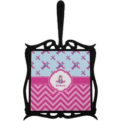 Airplane Theme - for Girls Trivet with Handle (Personalized)