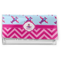 Airplane Theme - for Girls Vinyl Checkbook Cover (Personalized)