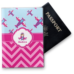 Airplane Theme - for Girls Vinyl Passport Holder (Personalized)