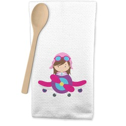 Airplane Theme - for Girls Waffle Weave Kitchen Towel (Personalized)