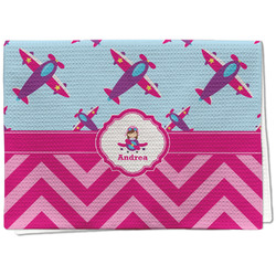 Airplane Theme - for Girls Waffle Weave Kitchen Towel - Full Print (Personalized)