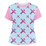 Airplane Theme - for Girls Women's Crew T-Shirt (Personalized)
