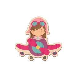 Airplane Theme - for Girls Genuine Maple or Cherry Wood Sticker (Personalized)