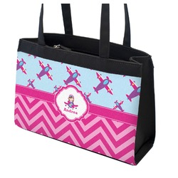 Airplane Theme - for Girls Zippered Everyday Tote (Personalized)
