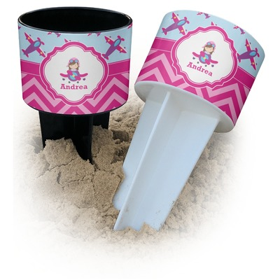 Airplane Theme - for Girls Beach Spiker Drink Holder (Personalized)