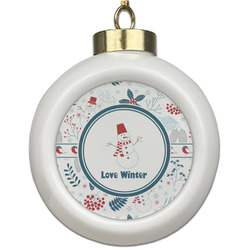 Winter Ceramic Ball Ornament