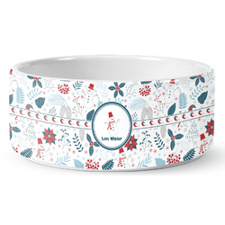 Winter Ceramic Pet Bowl (Personalized)