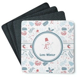 Winter 4 Square Coasters - Rubber Backed (Personalized)