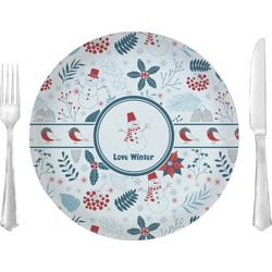 """Winter 10"""" Glass Lunch / Dinner Plates - Single or Set (Personalized)"""