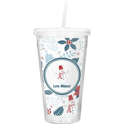 Winter Double Wall Tumbler with Straw (Personalized)