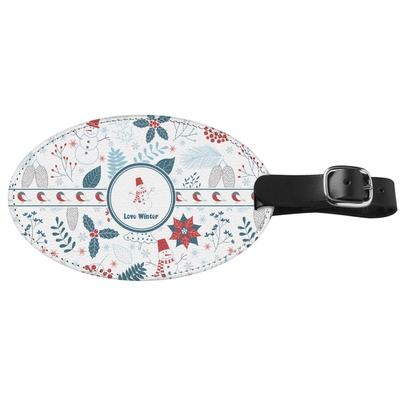 Winter Genuine Leather Oval Luggage Tag (Personalized)