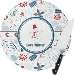 Winter Round Glass Cutting Board (Personalized)
