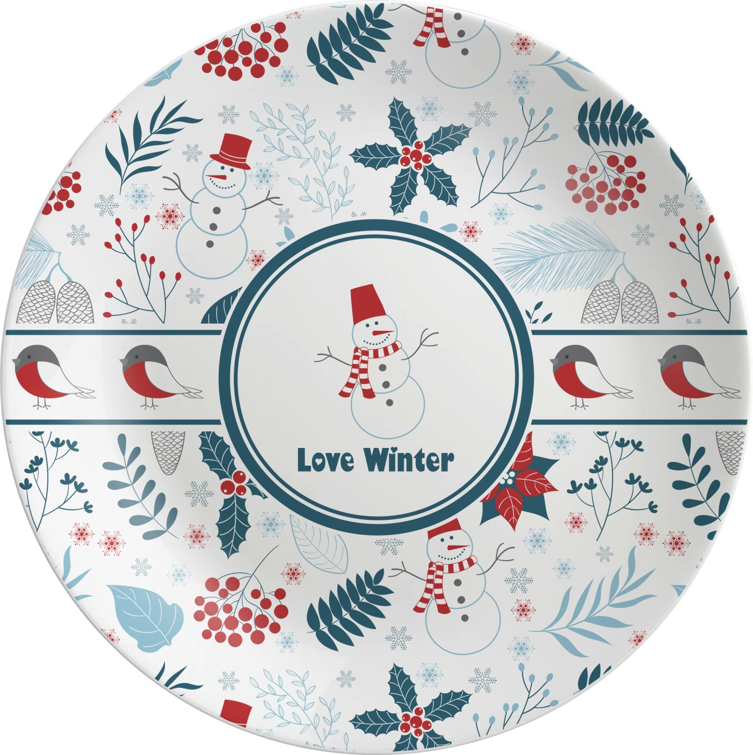 Winter Melamine Plate (Personalized)  sc 1 st  YouCustomizeIt & Winter Melamine Plate (Personalized) - YouCustomizeIt