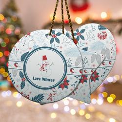 Winter Snowman Ceramic Ornament