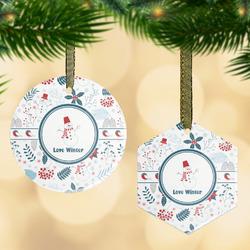 Winter Snowman Flat Glass Ornament