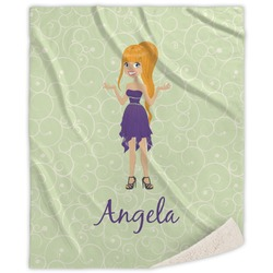 Custom Character (Woman) Sherpa Throw Blanket (Personalized)