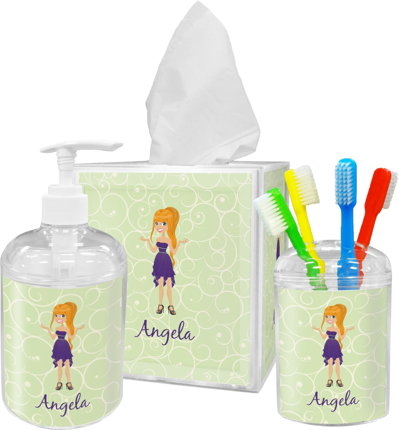 Custom Character (Woman) Bathroom Accessories Set (Personalized ...