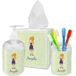 Custom Character (Woman) Acrylic Bathroom Accessories Set w/ Name or Text