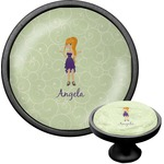 Custom Character (Woman) Cabinet Knob (Black) (Personalized)