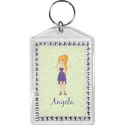 Custom Character (Woman) Bling Keychain (Personalized)