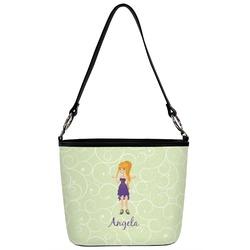 Custom Character (Woman) Bucket Bag w/ Genuine Leather Trim (Personalized)