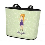 Custom Character (Woman) Bucket Tote w/ Genuine Leather Trim (Personalized)