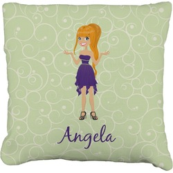 Custom Character (Woman) Faux-Linen Throw Pillow (Personalized)