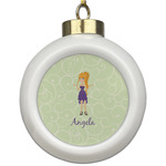 Custom Character (Woman) Ceramic Ball Ornament (Personalized)