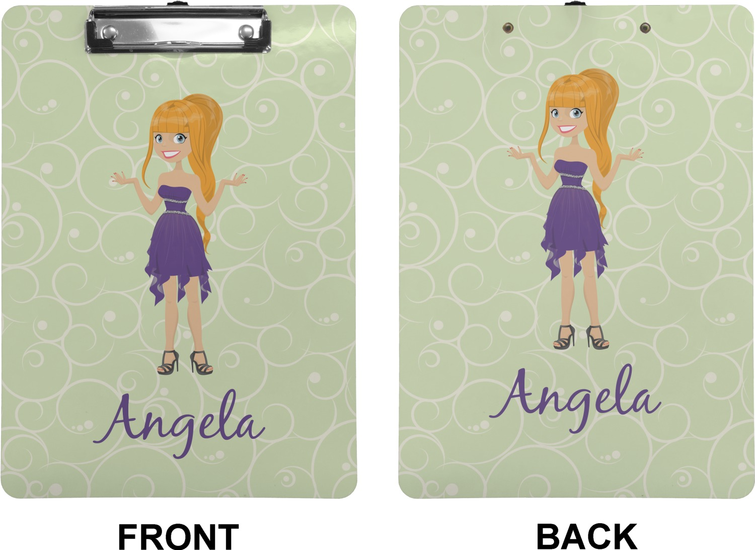 Custom Character Woman Clipboard Letter Size
