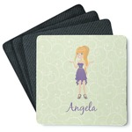 Custom Character (Woman) 4 Square Coasters - Rubber Backed (Personalized)