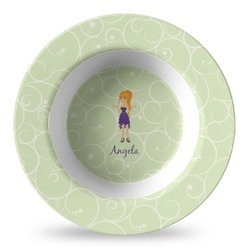 Custom Character (Woman) Plastic Bowl - Microwave Safe - Composite Polymer (Personalized)