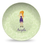 Custom Character (Woman) Microwave Safe Plastic Plate - Composite Polymer (Personalized)